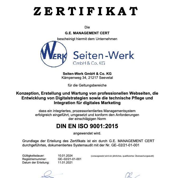 Wir sind DIN EN ISO 9001:2015 zertifiziert